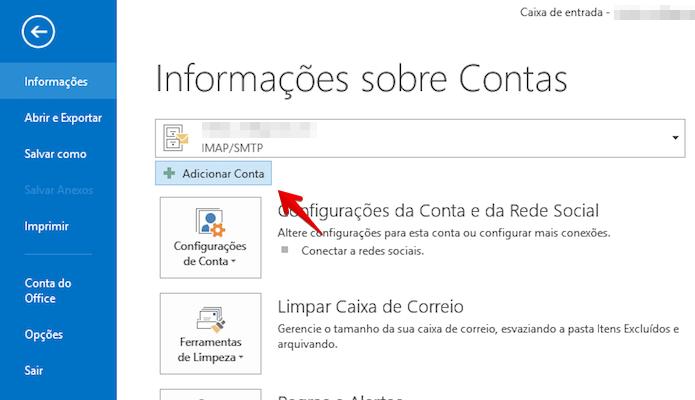 Acesse o menu de arquivo de Outlook (Foto: Reprodução/Helito Bijora)