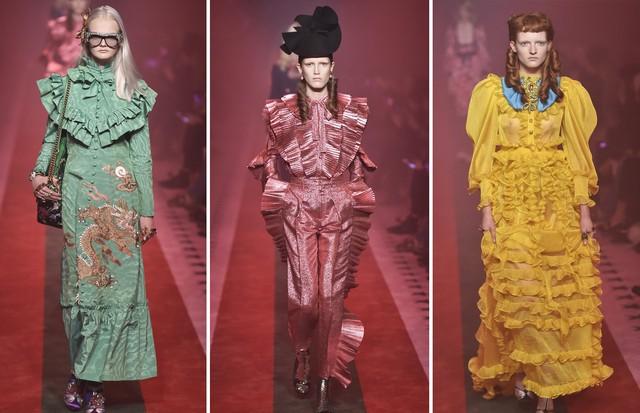 Tendência babados: Gucci (Foto: Antonio Barros e Getty Images/Catwalking)
