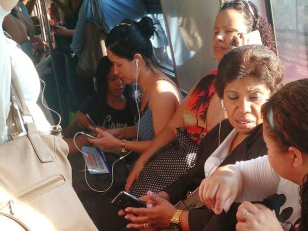 Passageira diz que ventilação de metrô ficou desligada por cerca de uma hora (Foto: Camila Rios/Arquivo pessoal)