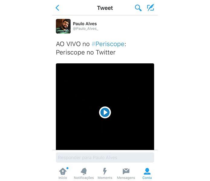 Transmissões ao vivo são automaticamente compartilhadas na timeline (Foto: Reprodução/Paulo Alves)