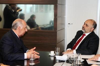 Presidente da CBF, Marco Polo Del Nero, encontra ministro do esporte, George Hilton (Foto: Francisco Medeiros / ME)