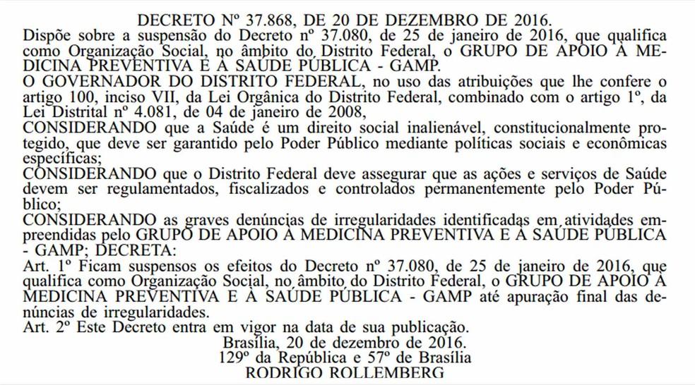 Reprodução do decreto assinado por Rodrigo Rollemberg que suspende qualificação da GAMP.  (Foto: Diário Oficial/Reprodução)