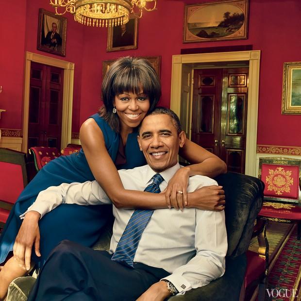 Michelle e Barack Obama em clique de Annie Leibovitz na Vogue US de abril de 2013 (Foto: Reprodução)