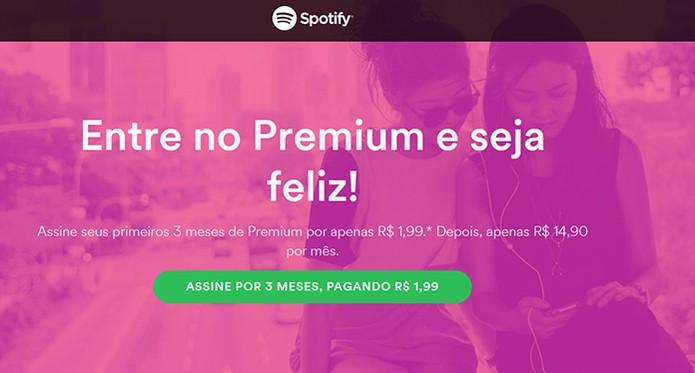Spotify tem período com preço promocional de R$ 1,99 (Foto: Reprodução/Barbara Mannara)