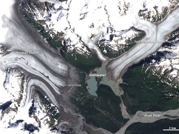 Imagem de satélite de geleiras do Alasca em 1987 (Foto: Divulgação/Nasa)