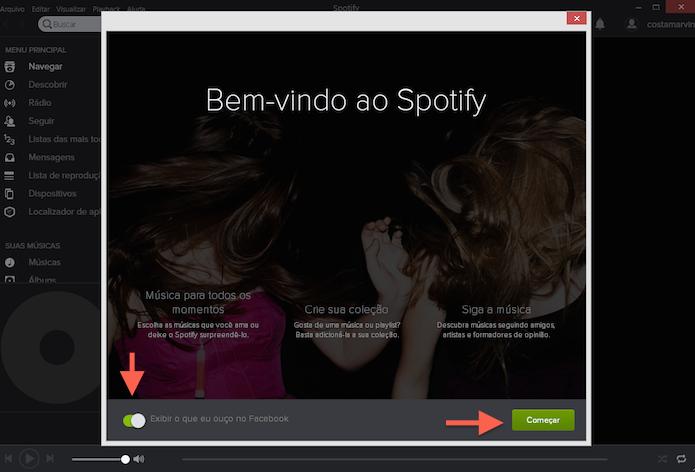 Iniciando a utilização do Spotify (Foto: Reprodução/Marvin Costa)