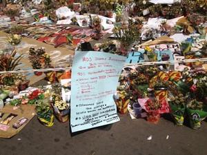 Cartaz pede justiça após 236 mortes na boate Kiss (Foto: Iara Lemos/G1)
