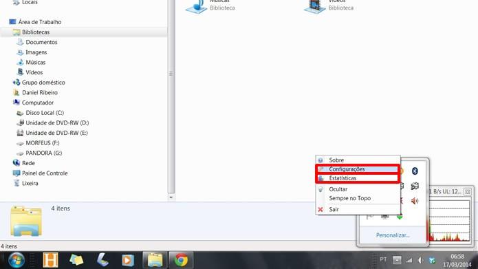 """Clique no ícone para abrir o gráfico de monitoramento e em """"Configurações"""" para especificar a análise da rede (Foto: Reprodução/Daniel Ribeiro)"""