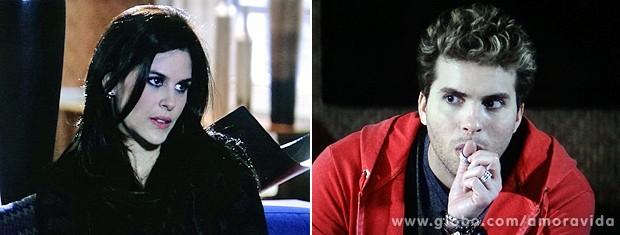 A gótica deixa o casal boquiaberto com as maluquices que diz (Foto: Amor à Vida / TV Globo)