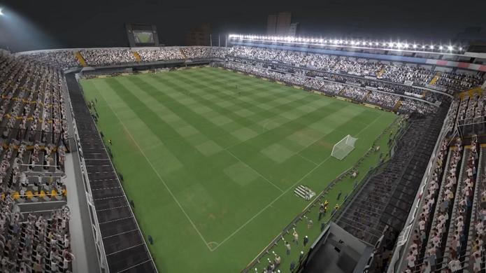 Vila Belmiro é um dos estádios brasileiros no game (Foto: Reprodução/Thiago Barros)