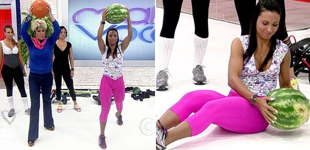 Uma melancia, um melão ou uma bola de basquete dão gás na malhação (Foto: Mais Você / TV Globo)