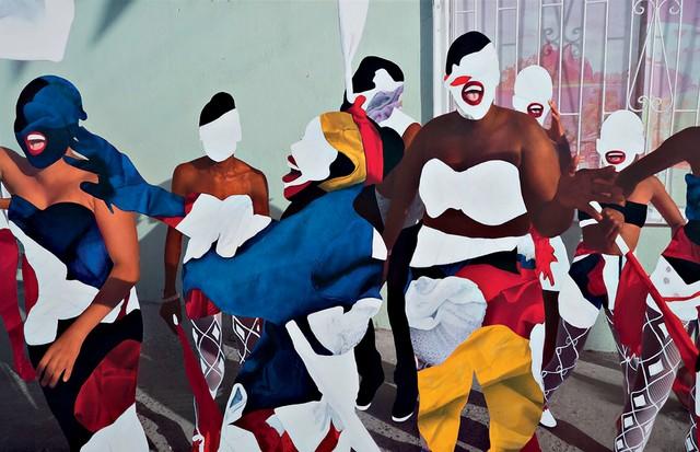 Pintura Bend Down Boutique 74 (2014), da dominiquense Pauline Marcelle, que assina a estampa usada na foto acima por Luisa e Natasha (Foto: Divulgação)