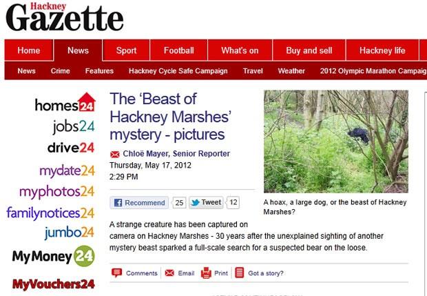 Criatura estranha teria sido flagrada em Hackney Marshes. (Foto: Reprodução)