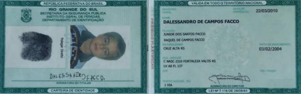Dalessandro, torcedor do Grêmio; identidade (Foto: Reprodução SporTV)