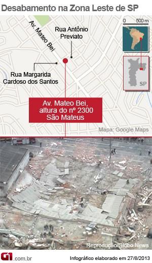 mapa desabamento são mateus zona leste (Foto: Arte/G1)