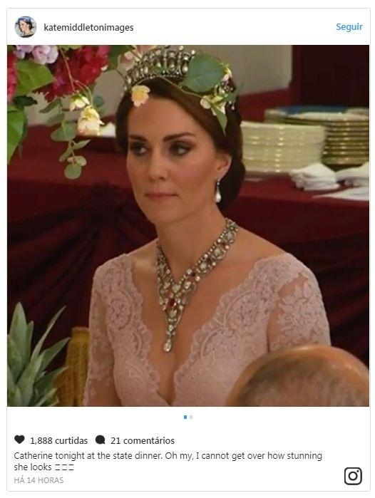 Kate Middleton participa de banquete real oferecido ao Rei e a Rainha da Espanha (Foto: Reprodução/Instagram)
