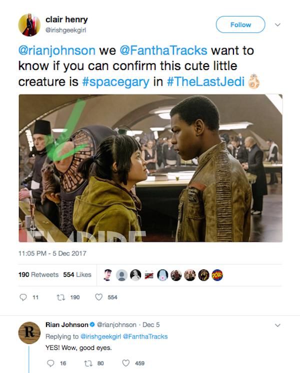 O diretor de Star Wars: Episódio VIII, Rian Johnson, confirmando a homenagem ao cãozinho de Carrie Fisher (Foto: Twitter)