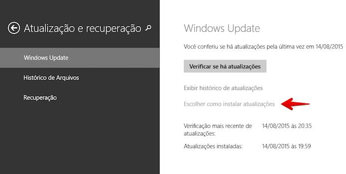 Abra as configurações do Windows Update (Foto: Reprodução/Helito Bijora)