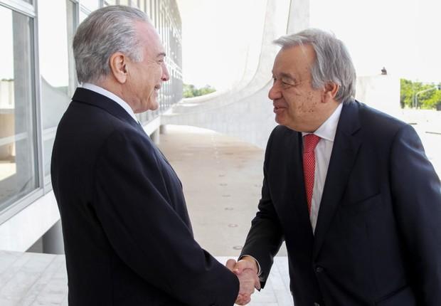 Novo secretário-geral da ONU diz a Temer que Brasil é exemplo de direitos humanos