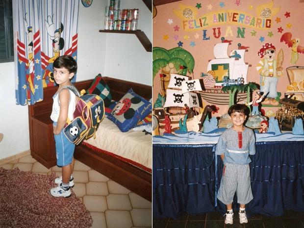 Luanzinho pronto para a escola de um lado; de outro, em um dos seus aniversários (Foto: Arquivo pessoal cedido ao Sai do Chão)