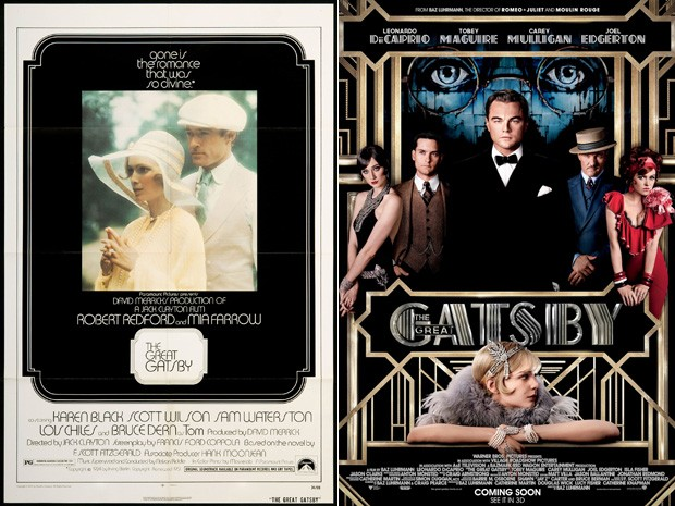 Pôsteres de 'O grande Gatsby' na versão de 1974, à esquerda, e de 2013 à direita (Foto: Divulgação)