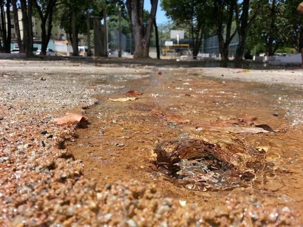 Vazamento provocou alagamentos na região da praça do conjunto. (Foto: Kléverton Amorim/Arquivo pessoal)