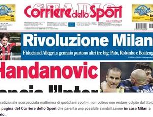 Reprodução Capa Corriere Dello Sport MIlan alexandre pato e robinho (Foto: Reprodução / Corriere Dello Sport)