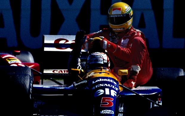 Ayrton senna mclaren nigel Mansell Williams, em Silverstone 1991 (Foto: Agência Getty Images)
