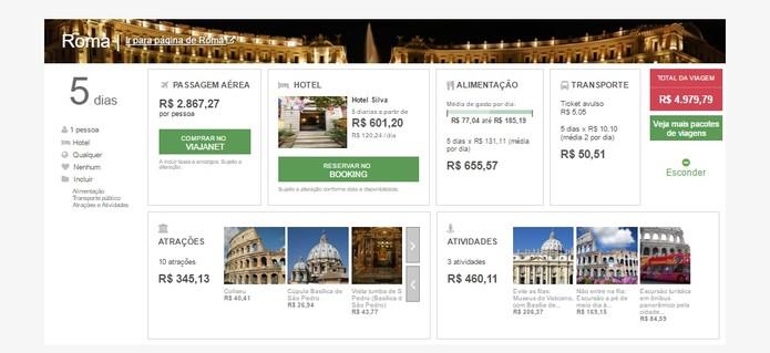 Site mostra preços de atividades, hotel, passagem e alimentação (Foto: Reprodução/Daniela Ferrari)