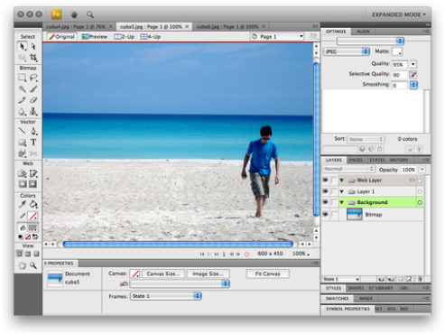 screenshot de Adobe Fireworks