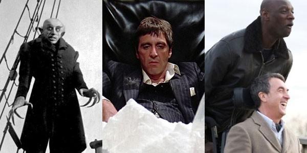 Os filmes Nosferatu (1922), Scarface (1983) e Os Intocáveis (2012) (Foto: Divulgação)