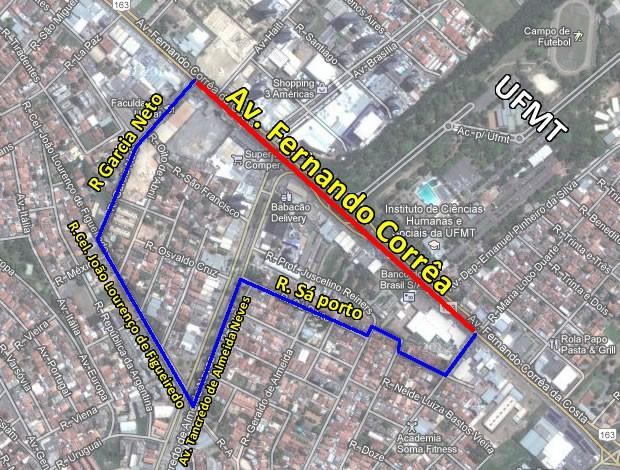Mais de 850 metros da Avenida Fernando Corrêa serão interditados no sentido Centro-Coxipó entre as ruas Garcia Neto e Luiz Antônio de Figueiredo (Foto: Arte/G1 MT)