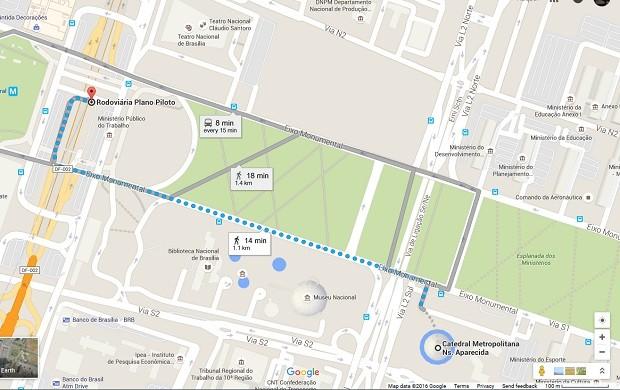 Mapa mostra trajeto entre a Rodoviária do Plano Piloto e a Catedral Metropolitana de Brasília (Foto: Google/Reprodução)