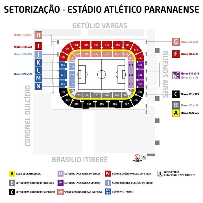 Setorização Atlético-PR Arena da Baixada (Foto: Divulgação/ Atlético-PR)