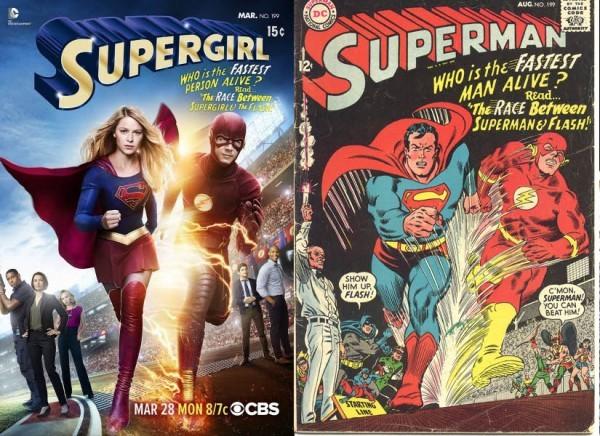 O cartaz de 'Supergirl' com o Flash e a capa da HQ protagonizada pelo Super-Homem (Foto: Reprodução)