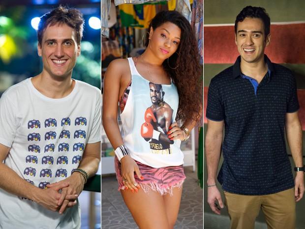 Igor Angelkorte, Juliana Alves e Marcos Veras vivem triângulo amoroso em Babilônia (Foto: Estevam Avellar/Globo e Felipe Monteiro/Gshow)