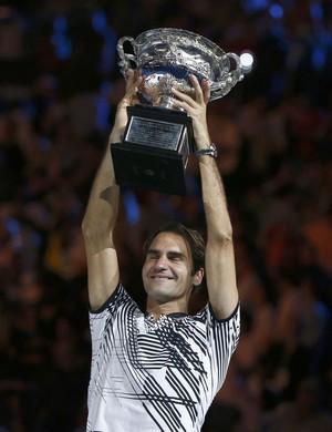 Roger Federer emocionado ao conquistar o seu 18º Grand Slam após vencer Rafael Nadal na final do Aberto da Austrália (Foto: REUTERS/Thomas Peter TPX IMAGES OF THE DAY)