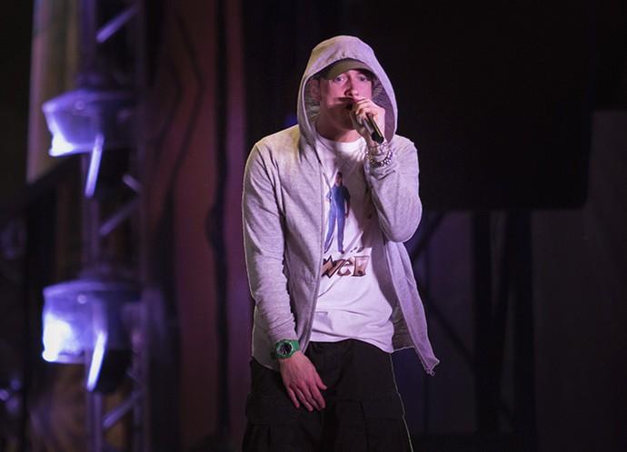 Eminem encerrou o primeiro dia de Lollapalooza (Foto: Raphael Dias/Gshow)