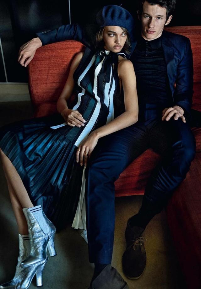 Ellen Rosa e Callum Turner (Foto: Mario Testino/Reprodução/Vogue América)