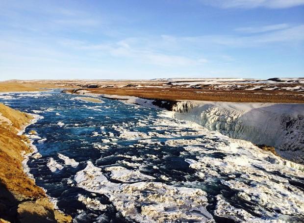 Gulfoss, na Islândia, é uma queda d'água que estava congelada. Essa é uma das imagens favoritas de Lalai (Foto: Chicken or Pasta/Divulgação)