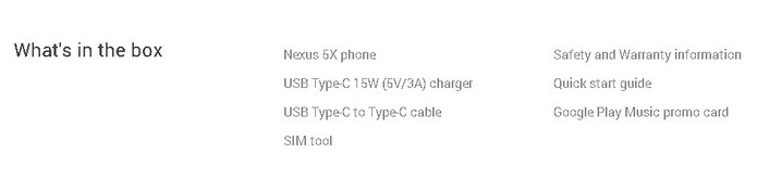 Lista de itens na caixa do Nexus 5X tem apenas cabo USB-C (Foto: Reprodução/Google Store)