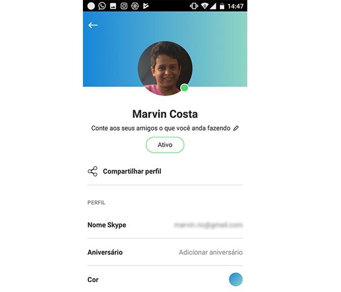 Opções para editar o perfil do Skype no Android (Foto: Reprodução/Marvin Costa)