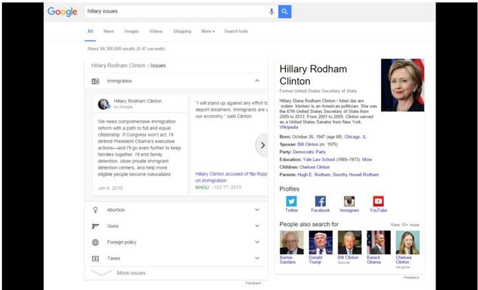 Candidata Hillary Clinton teve seu posts exibido no topo da tela de buscas (Foto: Reprodução/Arstechnica)