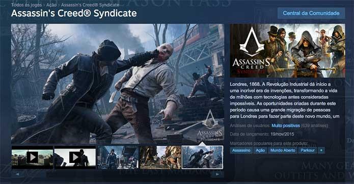 Assassins Creed Syndicate disponível para PC no Steam (Foto: Reprodução/Felipe Vinha)