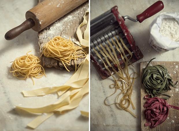 Uma máquina de massa facilita a vida do cozinheiro, mas, na falta dela, o rolo de macarrão resolve o problema. A não ser no caso do espaguete, que requer utensílio específico (Foto: Cacá Bratke/ Editora Globo)