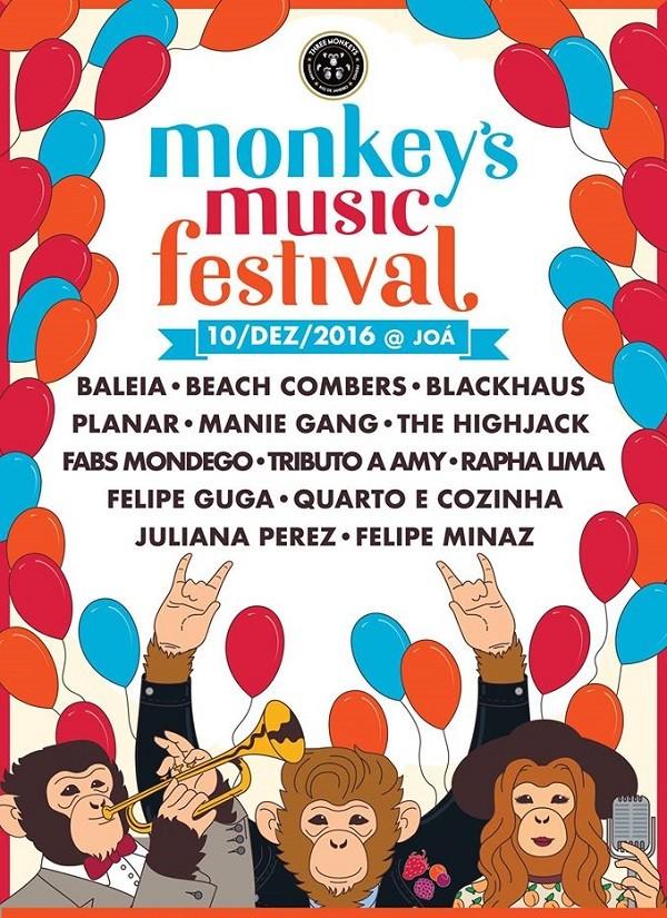 Pôster do Monkey's Music Festival, que acontecerá em 10 de dezembro