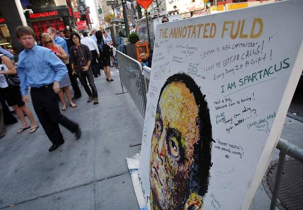 O cara da crise: a pintura de Dick Fuld, CEO do falido Lehman Brothers, foi assinada por ex-funcionários no fatídico dia 15 de setembro (Foto: Getty Images)