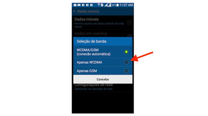 Selecionando a escolha automática para rede 3G no Galaxy Gran Prime (Foto: Reprodução/Marvin Costa)