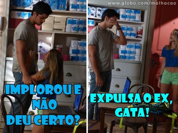 :O Como assim, Fatinha? A gata tá tão desesperada que até pediu de joelhos (Foto: Malhação / Tv Globo)