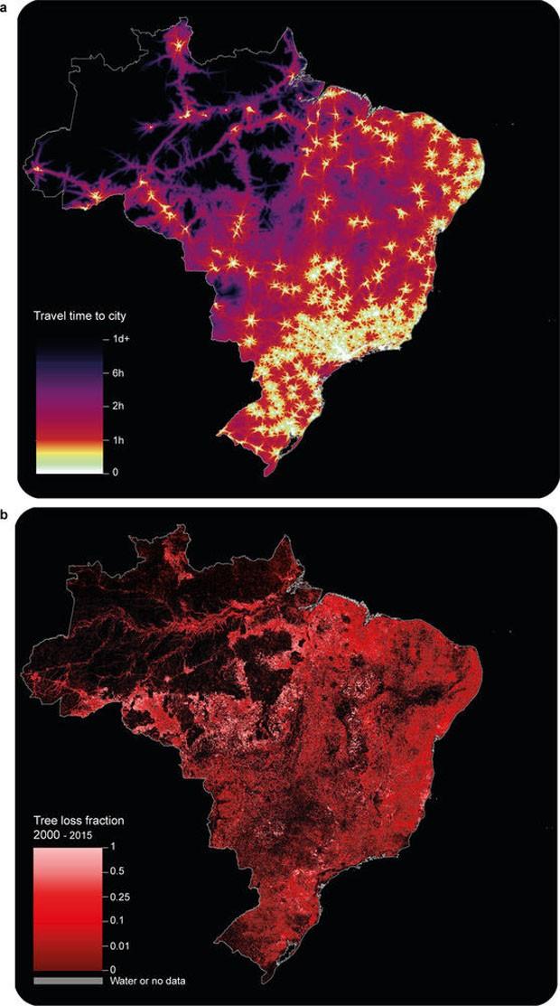 Mapa revela distância entre zonas rurais e centros urbanos pelo mundo (Foto: Reprodução)